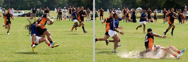 Crunching tackles during Western Suburbs vs. Rimutaka game at Ambassador's Cup, by Ola Thorsen - U.S. Embassy