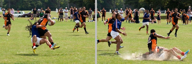 Crunching tackles during Western Suburbs vs. Rimutaka game at Ambassador's Cup, by Ola Thorsen - U.S. Embassy